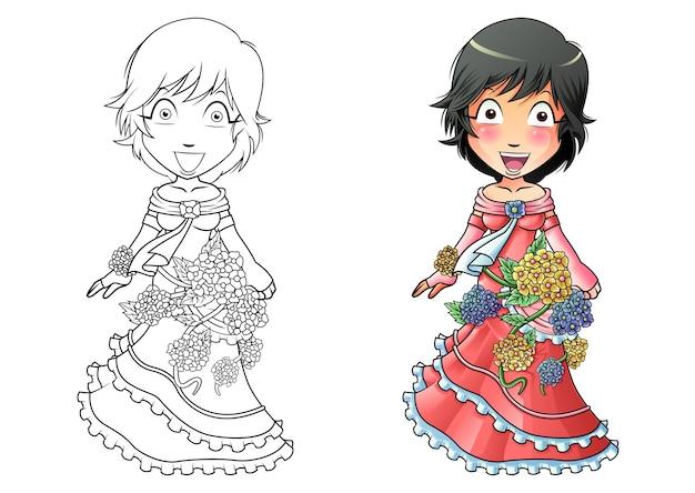 Dziewczyna w sukience kwiat kreskówka kolorowanki dla dzieci
