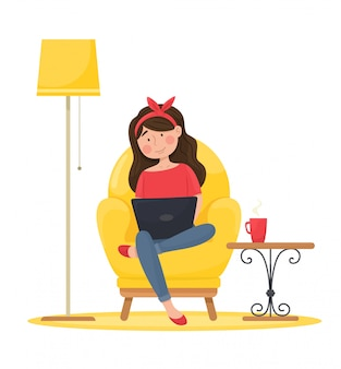 Dziewczyna w wygodnym fotelu pracuje przy komputerze. praca zdalna. ilustracja.