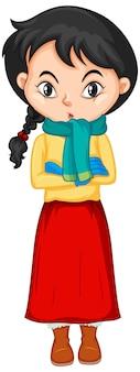 Dziewczyna w zimowych ubraniach na na białym tle