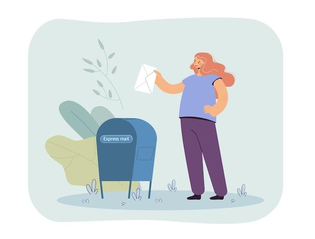 Dziewczyna wkłada list do skrzynki pocztowej płaska ilustracja