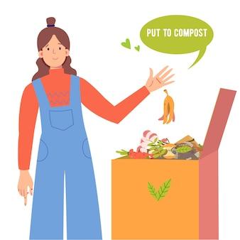 Dziewczyna wkłada skórkę od banana do pojemnika na kompost. kosz na kompost z materiałem organicznym. kompost na kwiaty domowe, ilustracja bio, nawóz organiczny. zapisz koncepcję planety.