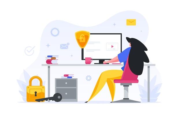 Dziewczyna wprowadza hasło zabezpieczające ilustrację swojego konta internetowego. postać kobieca w biurze sprawdza pocztę służbową i depozyty finansowe. niezawodna ochrona i bezpieczeństwo online