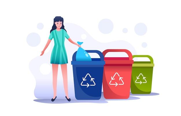Dziewczyna wrzuca worek na śmieci do prawego pojemnika. można zmienić kolor na dowolny standard. prawidłowe zachowanie przy sortowaniu i zbieraniu różnych rodzajów śmieci.
