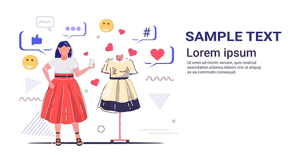 Dziewczyna wybiera nową sukienkę kobieta klient za pomocą aplikacji mobilnej online social media koncepcja sieci nowoczesnego butiku mody szkic pełnej długości poziomej przestrzeni kopii