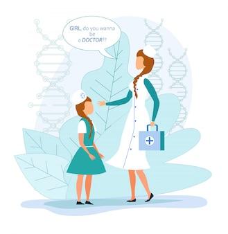 Dziewczyna wybiera zawód lekarza przyszłego zawodu