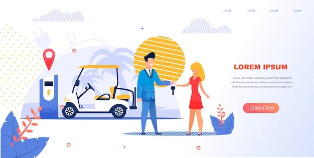 Dziewczyna wynajmuje elektryczny samochód plażowy.