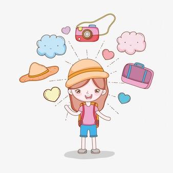 Dziewczyna z aparatem fotograficznym i bagaż do wanderlust przygody