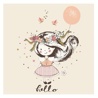 Dziewczyna z balonemkreskówka ręcznie rysowane ilustracji wektorowych może być używany do drukowania koszulki dla dzieci