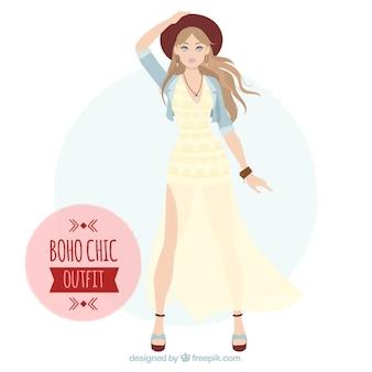 Dziewczyna z boho-chic długiej sukni i kapeluszu