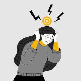 Dziewczyna z bólem głowy migrena chroniczny ból zmęczenie płaska konstrukcja postaci
