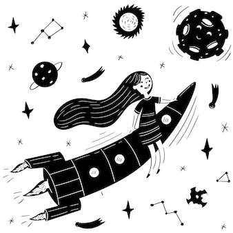 Dziewczyna z długimi włosami latająca na rakiecie. grafika wektorowa przestrzeni dzieci
