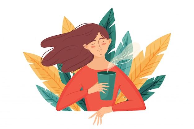 Dziewczyna z filiżanką kawy