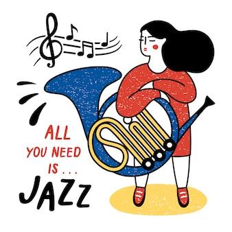 Dziewczyna z francuskim rogiem. ilustracja wektorowa na międzynarodowy dzień jazzu