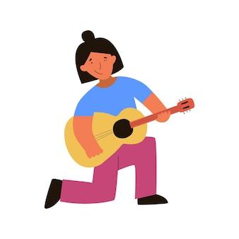 Dziewczyna z gitarą płaska ręcznie rysowane ilustracji wektorowychkoncert muzyczny element projektu koszulek