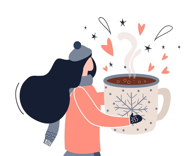 Dziewczyna z gorącym napojem w żelaznym kubku. zimowa ilustracja w stylu płaski