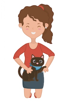 Dziewczyna z kota kreskówki projektem