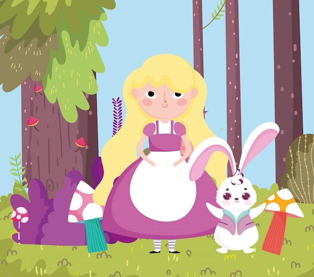 Dziewczyna z królika drzewa lasu pieczarki trawą w krainie cudów