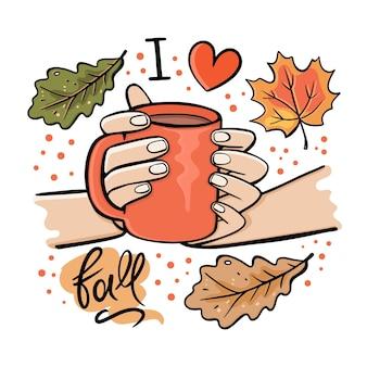 Dziewczyna z kubkiem gorącej czekolady. jesień ogród natura ręcznie rysowane kreskówka