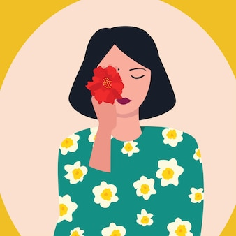Dziewczyna z kwiatami, ilustracji wektorowych. ładny szablon płaski kreskówka dla kart i plakatów. międzynarodowy dzień kobiet.