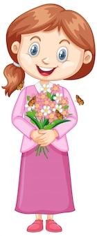 Dziewczyna z ładnymi kwiatami na bielu