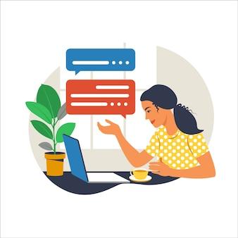 Dziewczyna z laptopem na fotelu. praca na komputerze. freelance, koncepcja edukacji online lub mediów społecznościowych. praca z domu, praca zdalna. płaski styl.