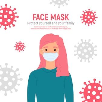 Dziewczyna z maską medyczną na twarzy, aby chronić ją przed koronawirusem covid-19, 2019-ncov na białym tle. koncepcja ochrony przed wirusami dla dzieci. bądź bezpieczny. ilustracja