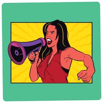Dziewczyna z megafon komiczną ilustracją