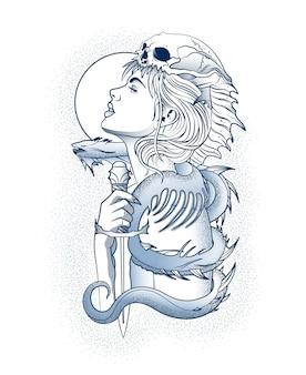 Dziewczyna z okropnym wężem na ramieniu