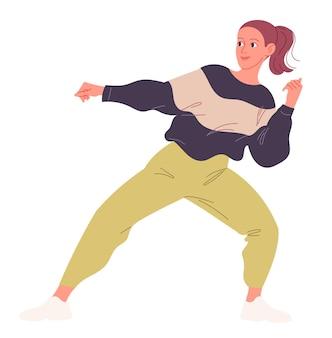 Dziewczyna z pasją tańczy taniec współczesny. ilustracja wektorowa