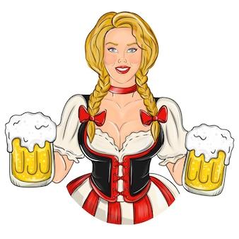 Dziewczyna z piwem. seksowna kobieta z piwem, oktoberfest.