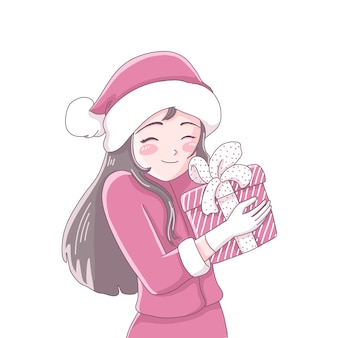 Dziewczyna z prezentem na boże narodzenie