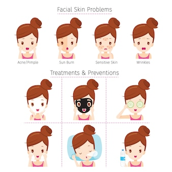 Dziewczyna z problemami na twarzy i metody leczenia i zapobiegania