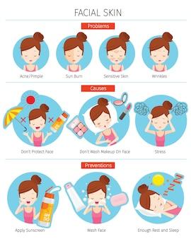 Dziewczyna z problemami skóry twarzy, przyczyną i zapobieganiem