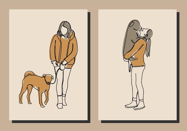 Dziewczyna z psem jednoliniowa linia ciągła sztuka wektor premium