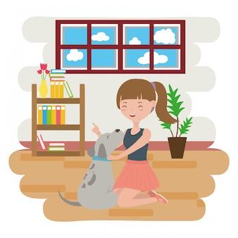 Dziewczyna z psem kreskówki