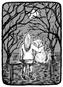 Dziewczyna z psem siedzą na ławce w parku. ręcznie rysowane ilustracji wektorowych w monochromatycznych kolorach. streszczenie rysunek graficzny na białym tle. element projektu, wystrój.