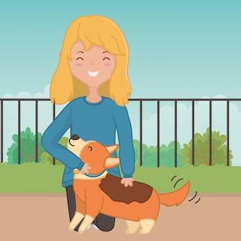 Dziewczyna z psim kreskówka projektem