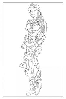 Dziewczyna z ptakiem steampunk
