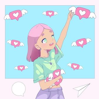 Dziewczyna z różowymi włosami uzależnia się od mediów społecznościowych