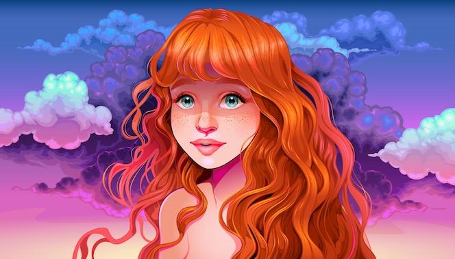 Dziewczyna z rude włosy i piegi w zachodzie słońca