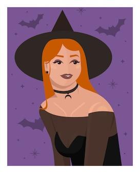 Dziewczyna z rudymi włosami w kostiumie i kapelusz czarownicy