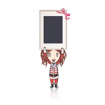Dziewczyna z święty mikołaj kostiumem trzyma pustą ramę