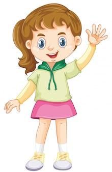 Dziewczyna z szczęśliwym uśmiechem na białym tle