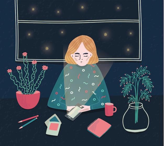 Dziewczyna z telefonem w nocy. młoda kobieta siedzi przy stole i czeka na połączenie. kolorowa ilustracja w kreskówka stylu.