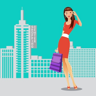 Dziewczyna z torby na zakupy. kobieta na zakupy. banner sprzedaży. ilustracji wektorowych