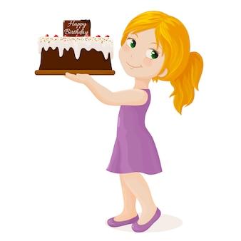 Dziewczyna z tortem urodzinowym