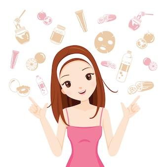 Dziewczyna z zestawem ikon zdrowia skóry twarzy i ciała