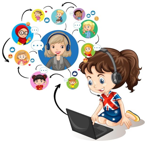 Dziewczyna za pomocą laptopa do komunikowania się wideokonferencji z nauczycielem i przyjaciółmi na białym tle