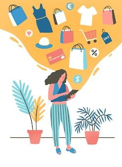 Dziewczyna zakupy online płaska ilustracja. młoda kobieta kupuje, zamawia ubrania w sklepie internetowym