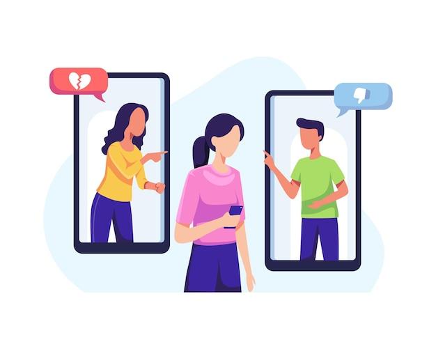 Dziewczyna zastraszana w internecie. cyberprzemoc w sieciach społecznościowych i koncepcja nadużyć online. ilustracja wektorowa w stylu płaskiej